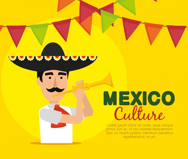 Homme mariachi avec bannière de fête et trompette