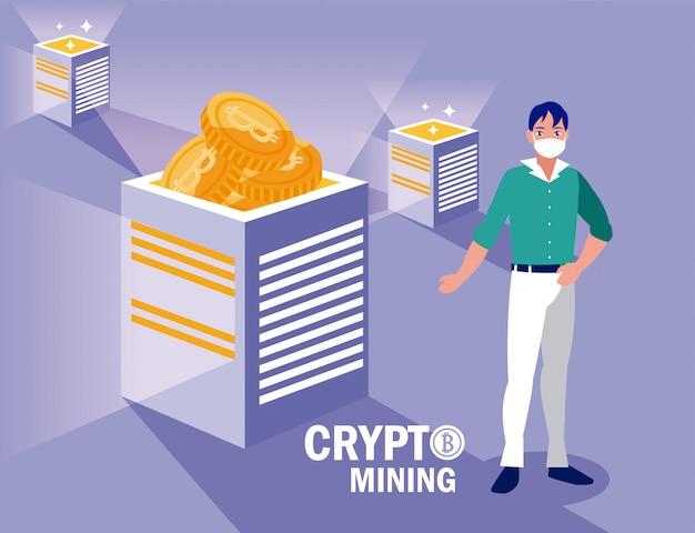 Homme avec masque et boîtes de bitcoins