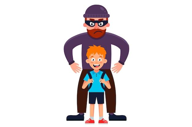 Un homme masqué kidnappe un petit garçon. illustration de caractère plat.