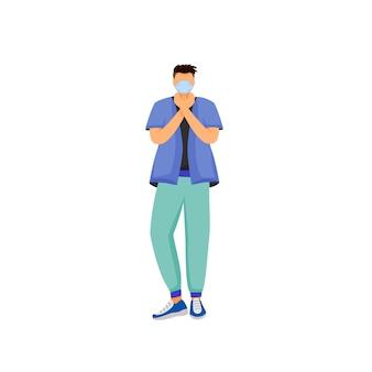Homme en masque respiratoire couleur design plat caractère sans visage