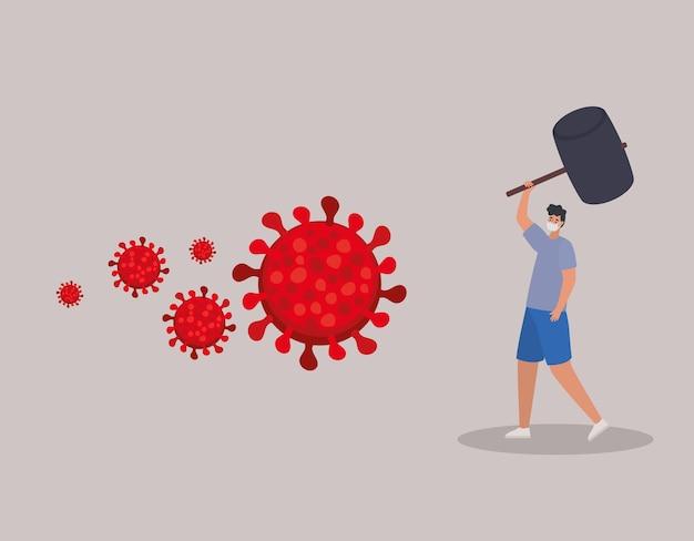 Homme avec un masque de sécurité, des particules rouges et un marteau sur une conception d'illustration grise