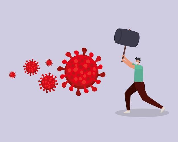 Homme avec un masque de sécurité, des particules rouges et un marteau sur une conception d'illustration violette