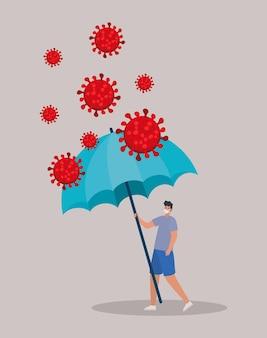Homme avec un masque de sécurité, des particules rouges et un parapluie sur la conception d'illustration grise