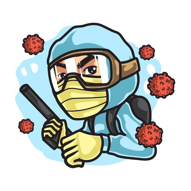 Homme avec des matières dangereuses, lutte pour le virus corona