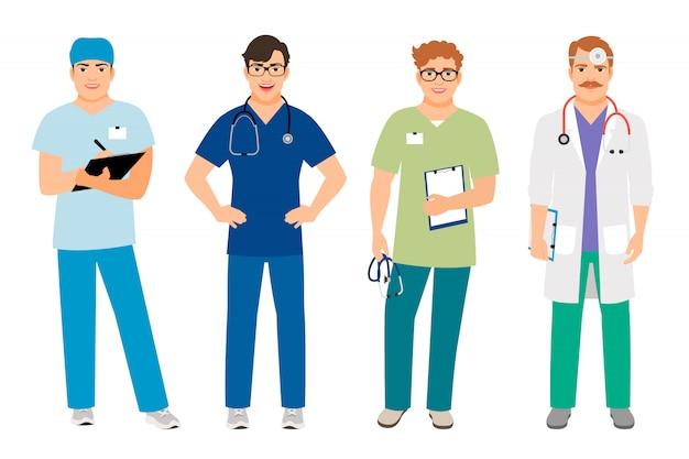 Homme médecin en blouse blanche et homme infirmière en costume d'hôpital isolé