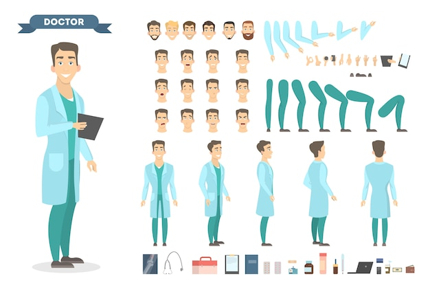 Homme médecin chaeacter sertie de poses et d'émotions.