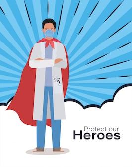 Homme médecin héros avec cape contre 2019 virus ncov conception de covid 19 cov infection symptômes de la maladie épidémique corona et illustration de thème médical