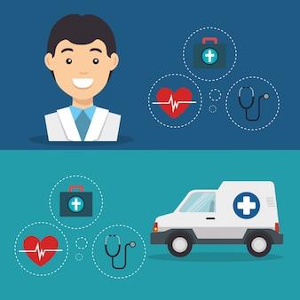 Homme médecin avec des icônes de services médicaux