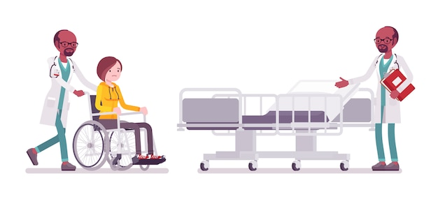 Homme médecin noir et bannière de patient hospitalisé