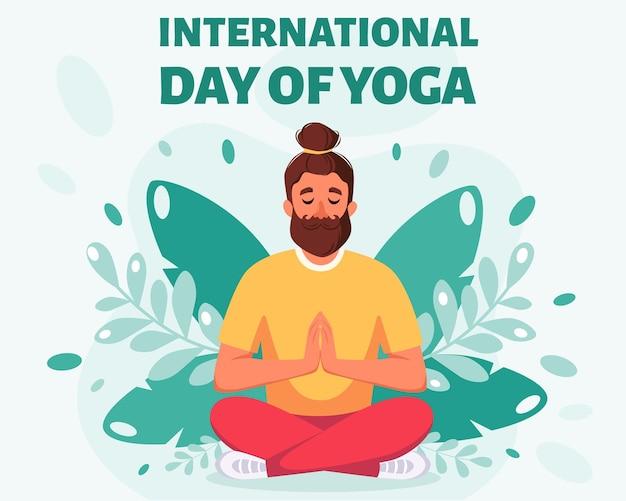 Homme méditant en posture de lotus journée internationale du yoga