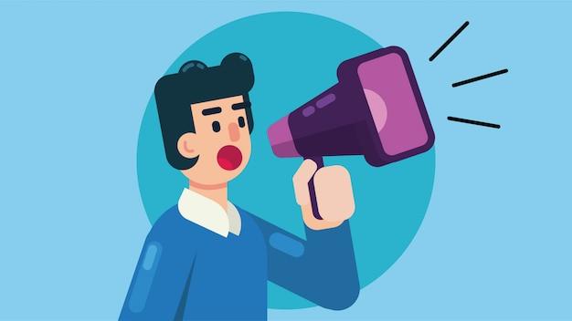 Un homme avec un mégaphone annonce des informations