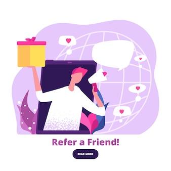 L'homme avec un mégaphone offre des cadeaux de référence. bannière de vecteur de programme de marketing numérique et de référence