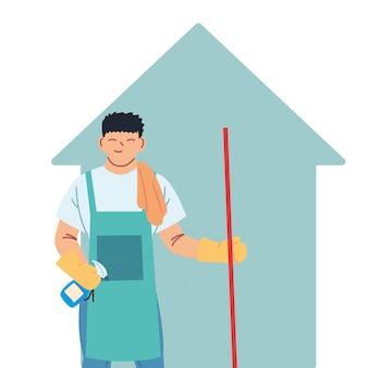 Homme de ménage faisant des travaux de ménage