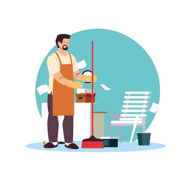 Homme de ménage avec tablier et balais illustration desing