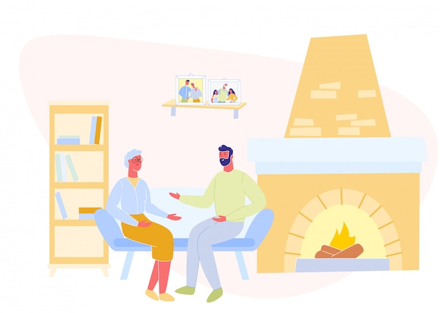 L'homme et la mère mûre communiquent près du foyer.
