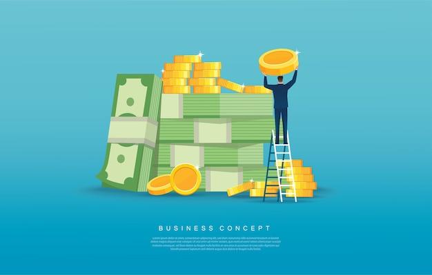 Homme mettant la pièce sur une pile de pièces concept d'affaires et de finances