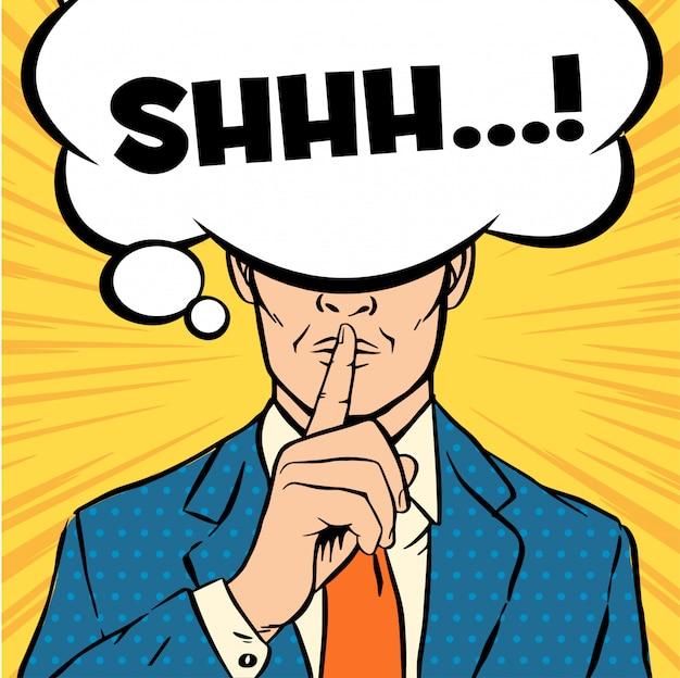 Homme mettant son index à ses lèvres pour un silence silencieux