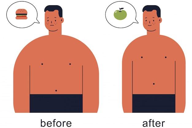 Homme mignon avant et après perdre du poids