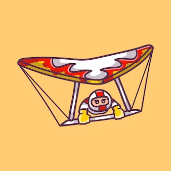 Homme mignon jouant au deltaplane de sport aérien