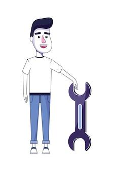 Homme mignon avec des vêtements décontractés et clé