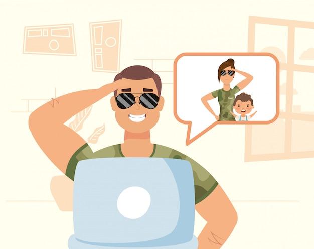 Homme militaire utilisant un ordinateur portable pour communiquer et rester à la maison