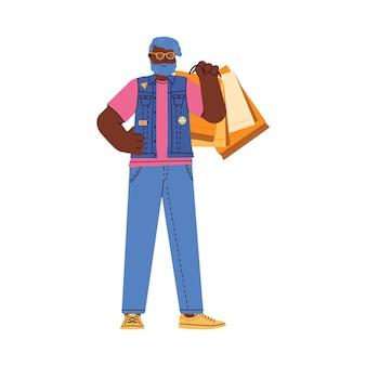 Homme à la mode se tient tenant illustration plate de sacs à provisions