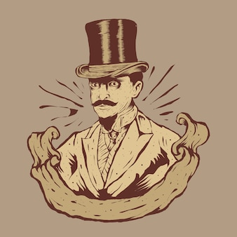 Homme à la mode vintage et illustration du logo big hat