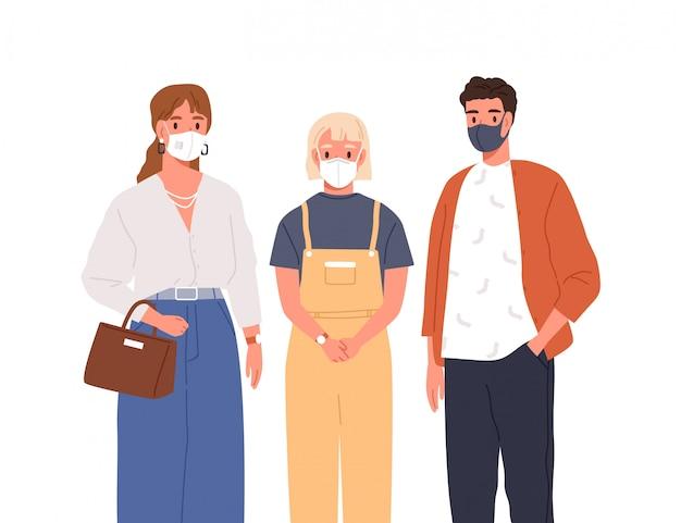 Homme moderne, femme et adolescente en masque de protection sur illustration plate de vecteur de visage. groupe de personnes portant des respirateurs isolés sur blanc. santé et prévention des épidémies de coronavirus