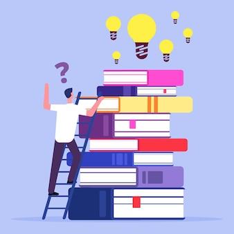 L'homme monte les escaliers pour trouver des idées. auto-éducation