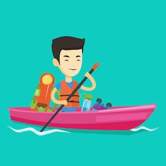 Homme monté en illustration de kayak.