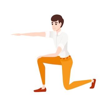 L'homme montre le chemin avec des vêtements décontractés à la main cartoon character design plat vector illustration isolé sur fond blanc.
