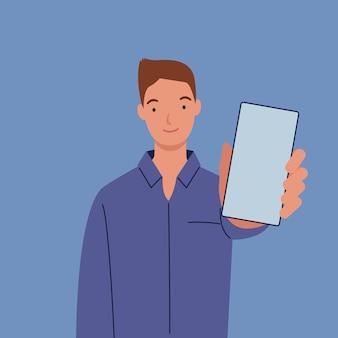 L'homme montre l'écran du smartphone vers l'avant.