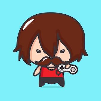 L'homme avec la moustache et le bâton de jeu en main dans le style kawaii