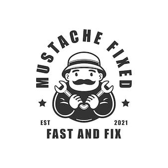 Homme moustache tenant une clé illustration vectorielle logo fixe
