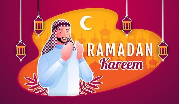 Homme musulman accueillant le ramadan kareem