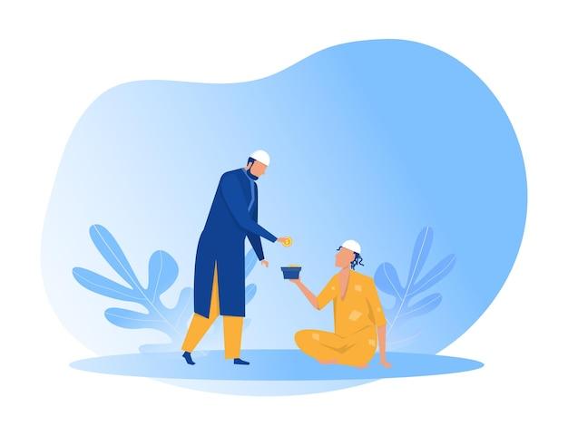 Homme musulman don zakat aux pauvres pauvres avec illustration de la journée eid mubarak
