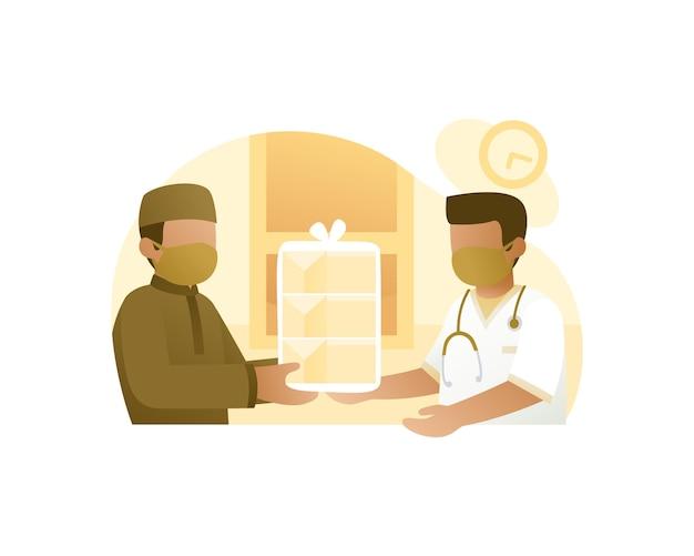 Homme musulman donnant un don de nourriture au travailleur médical