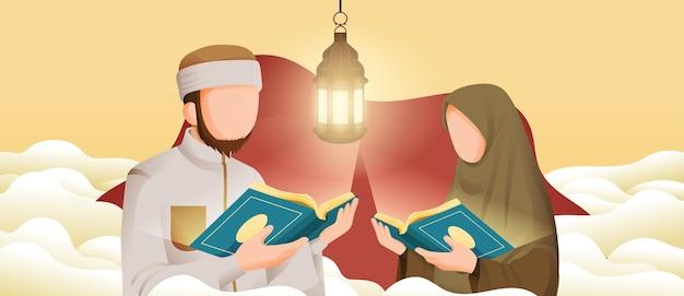 Homme musulman et femme lisant le coran ou le coran dans le mois sacré du ramadan kareem avec le croissant de lune et les étoiles illustration