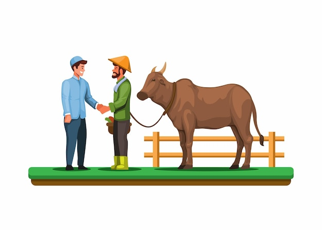 Homme musulman avec un fermier échangeant une vache contre qurban un vecteur d'événement islamique de sacrifice rituel d'animal