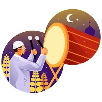 Homme musulman frappant le tambour pour célébrer l'aïd mubarak