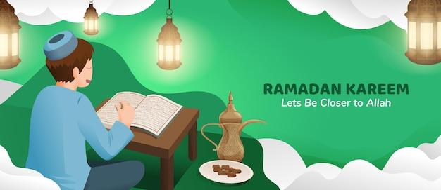 Homme musulman lisant le coran pendant le mois sacré du ramadan kareem avec lanterne et dates