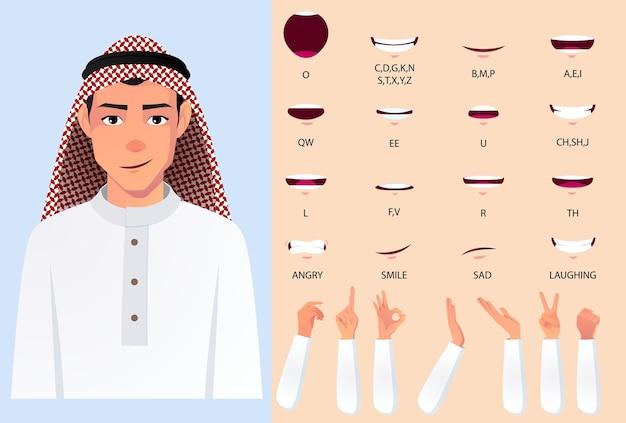 Homme musulman portant un pack d'animation de la bouche en tissu blanc avec un ensemble de synchronisation des lèvres. plat