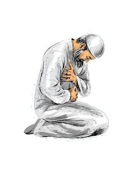 Homme musulman priant, croquis dessiné à la main. illustration