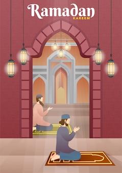 Homme musulman priant dans la mosquée.