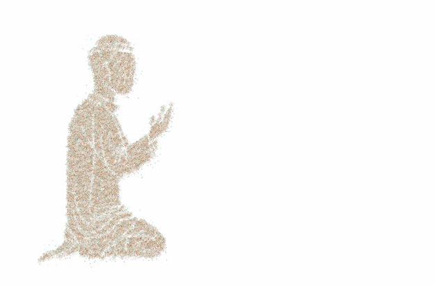 Homme musulman priant (namaz, prière islamique) - fond de vecteur de particules.