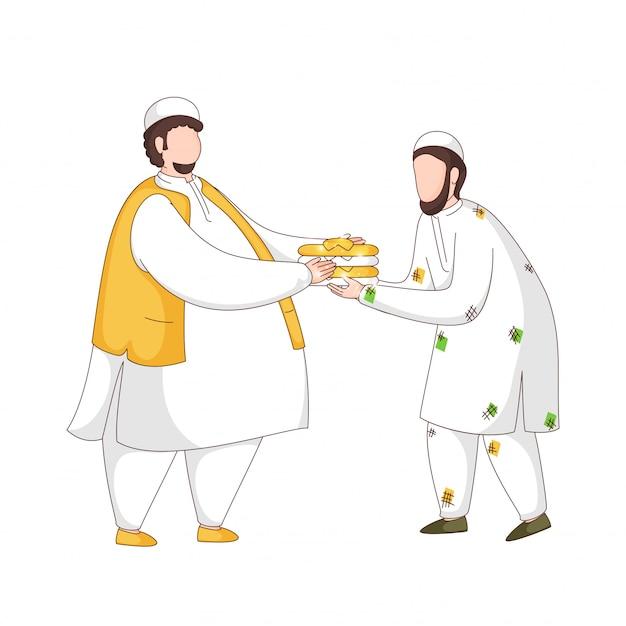 Homme musulman sans visage donnant des vêtements à une personne dans le besoin sur fond blanc.