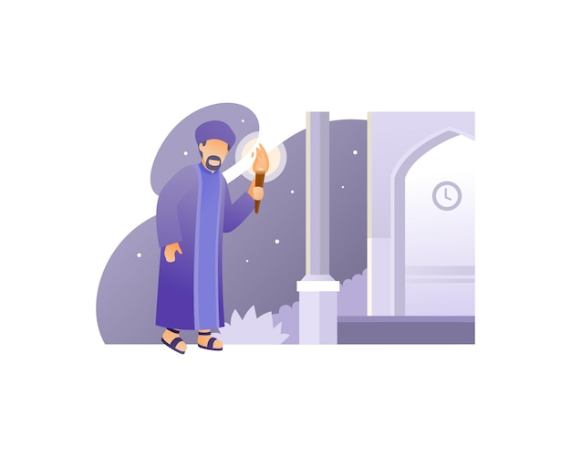 Homme musulman se rendant à la mosquée tout en portant une torche