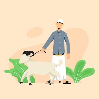 Homme musulman tenant une corde de chèvre