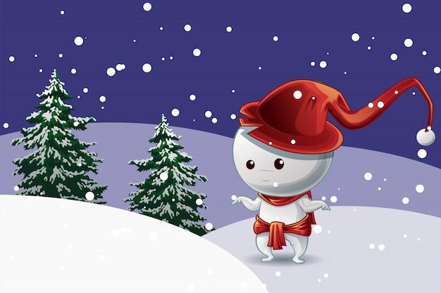 Homme de neige avec un chapeau rouge à la fête de noël sur fond de neige et d'arbres.