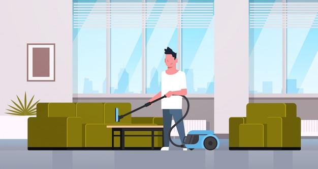 Homme, nettoyage, divan, à, aspirateur, type, faire, ménage, concept, moderne, salon, intérieur, mâle, dessin animé, caractère